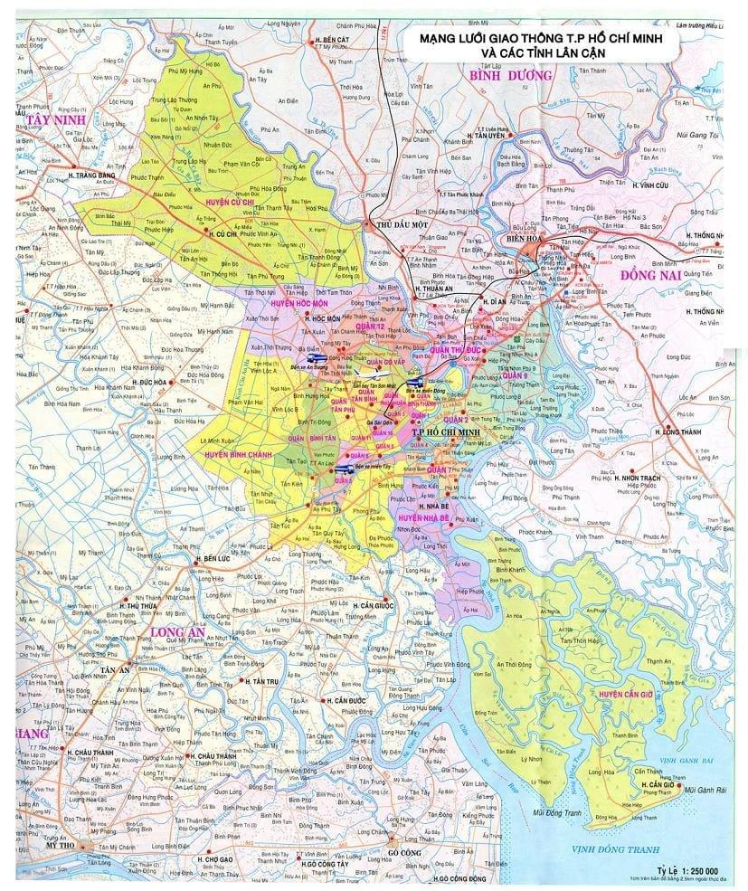 Bản đồ mạng lưới giao thông TP HCM & các tỉnh lân cận
