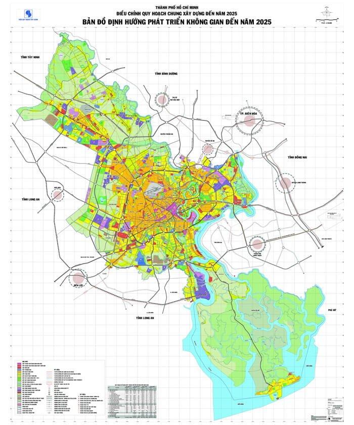 Bản đồ định hướng phát triển không gian TP HCM đến năm 2025