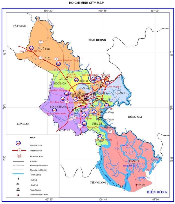Bản đồ TP HCM bằng tiếng Anh - Ho Chi Minh city map