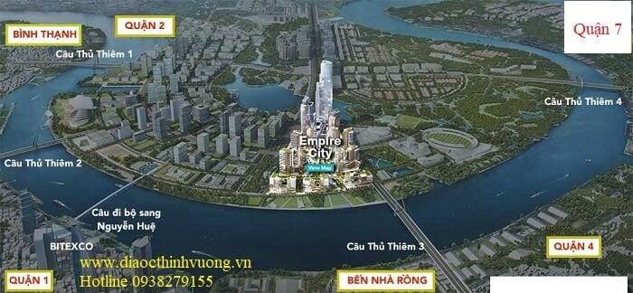 Dự án Empire City được hưởng lợi từ vị trí của bán đảo Thủ Thiêm