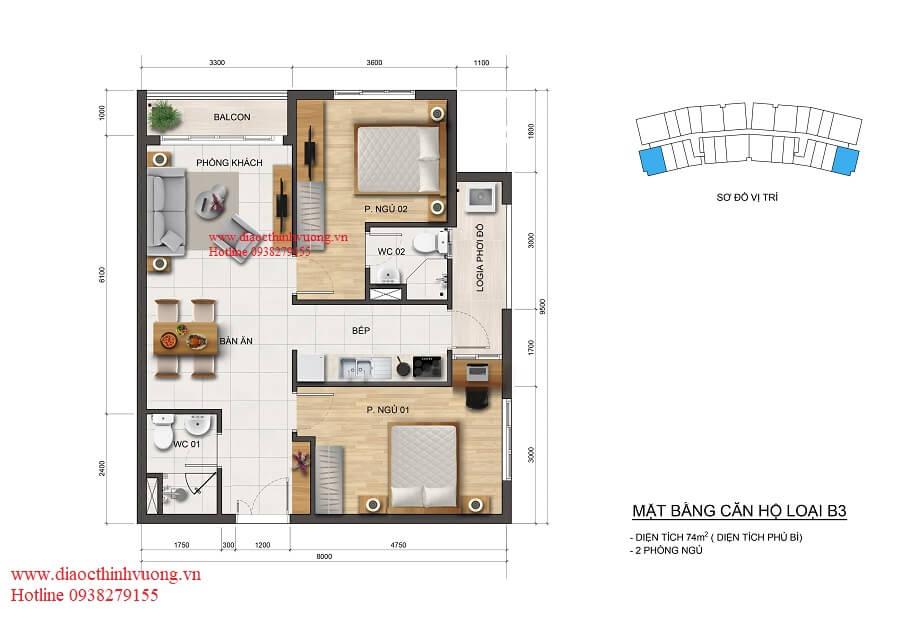 Thiết kế căn hộ 74 m2