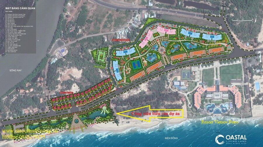 Công viên ven biển của dự án rộng đến 3,5 ha