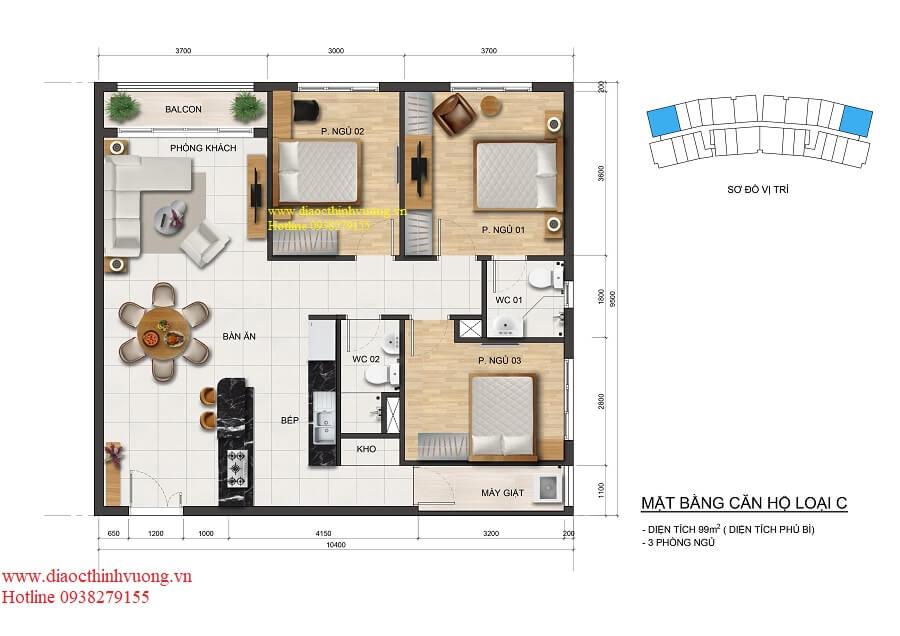 Thiết kế căn hộ 99 m2