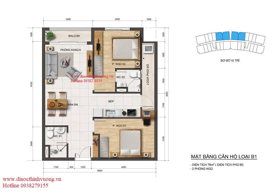 Thiết kế căn hộ 76 m2