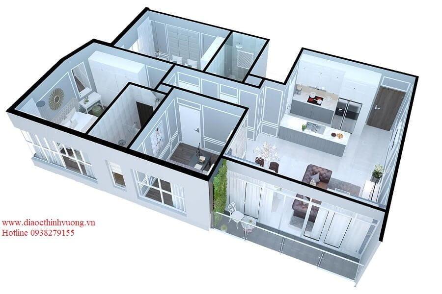 Thiết kế 3D căn hộ 3PN diện tích 93 m2