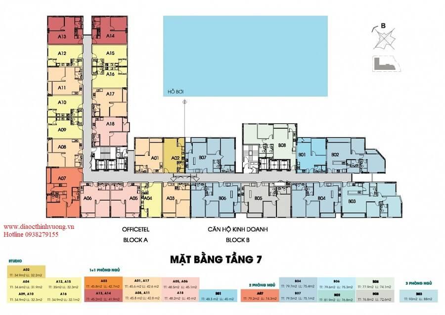 Mặt bằng tầng 7 căn hộ Thủ Thiêm Dragon