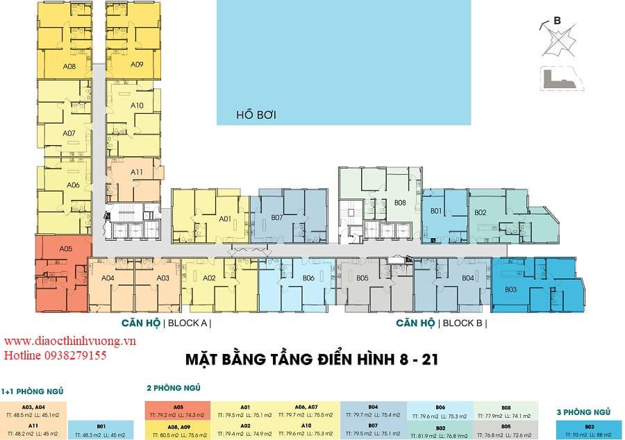 Mặt bằng tầng 8 - 21 căn hộ Thủ Thiêm Dragon