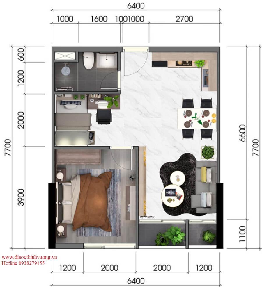 Thiết kế căn hộ 1+1PN diện tích 48 m2