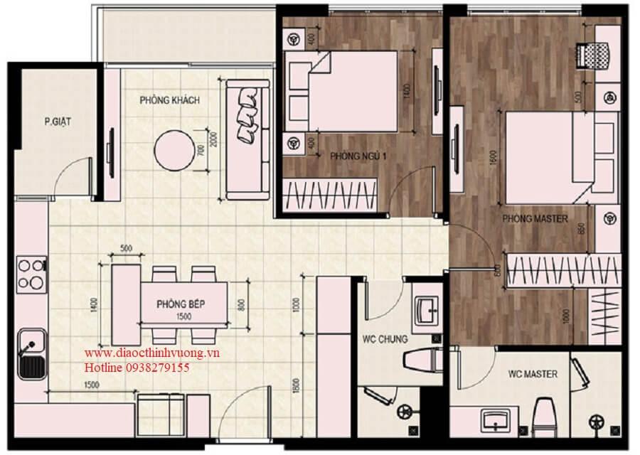 Thiết kế căn 2PN diện tích 79 m2