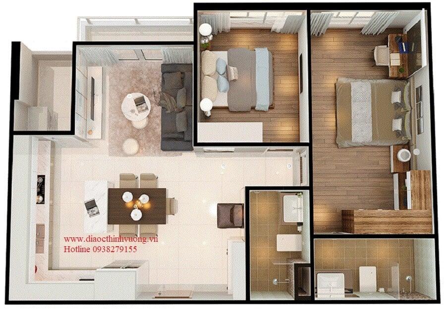 Thiết kế 3D căn 2PN diện tích 79 m2