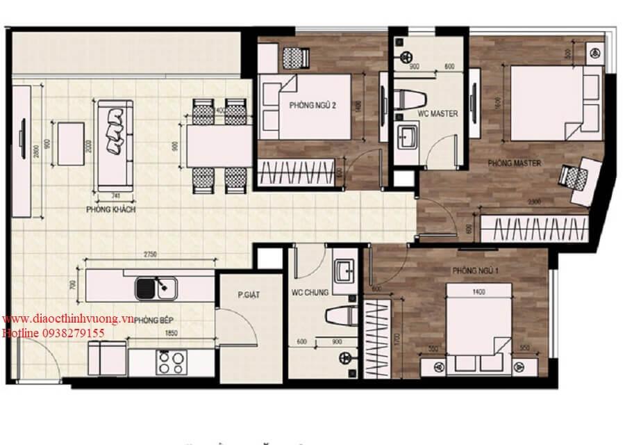 Thiết kế 2D căn hộ 3PN diện tích 93 m2