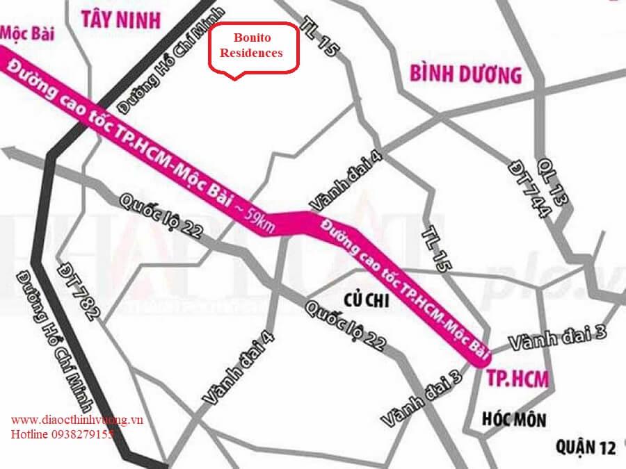 Dự án Bonito Residences nằm gần cao tốc TP HCM - Mộc Bài