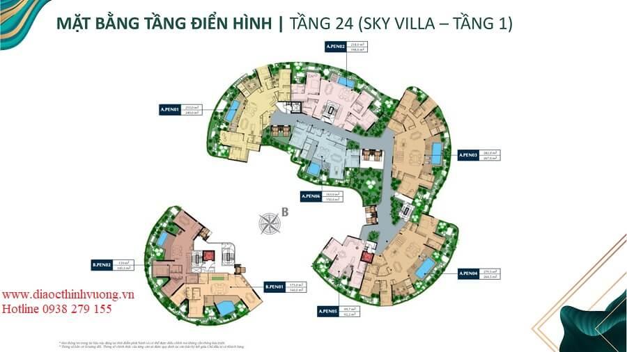 Mặt bằng tầng 24 của căn hộ Sky Villa tại Sunshine Quận 2