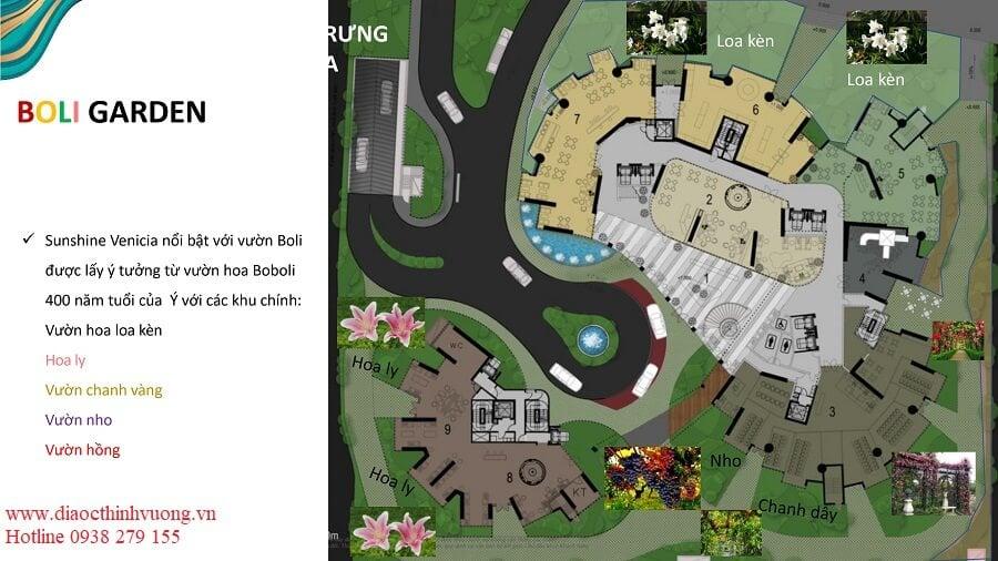 Sơ đồ vị trí của các vườn hoa quả Boli Garden