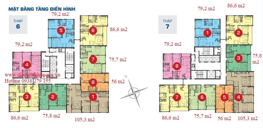 Mặt bằng tầng điển hình từ 4 trở lên của các tháp 6 và 7
