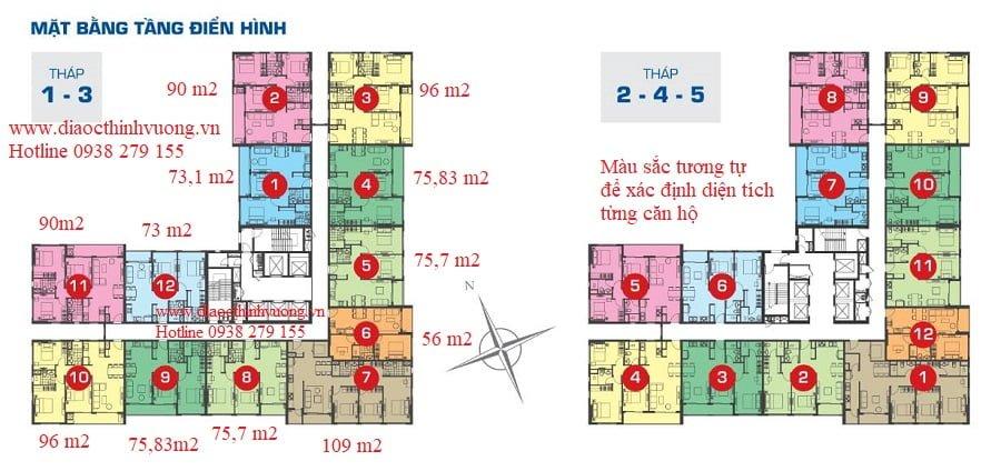 Mặt bằng tầng điển hình từ 4 trở lên của các tháp 1 2 3 4 5