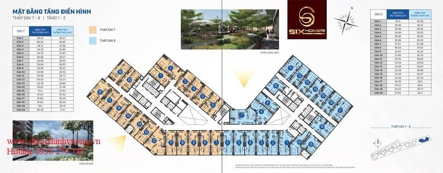 Mặt bằng tầng officetel tháp SAV7 và SAV8 tầng 1 - 2