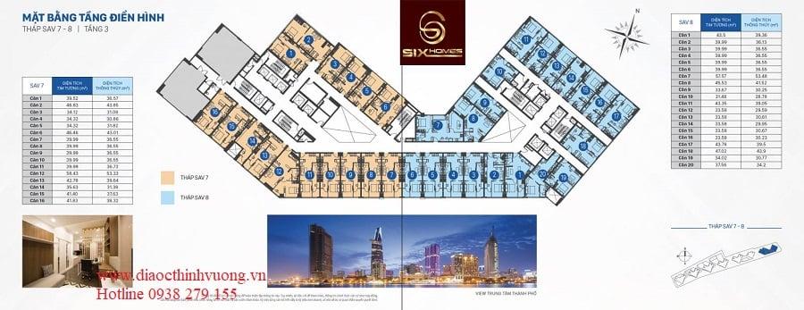 Mặt bằng tầng officetel tháp SAV7 và SAV8 tầng 3