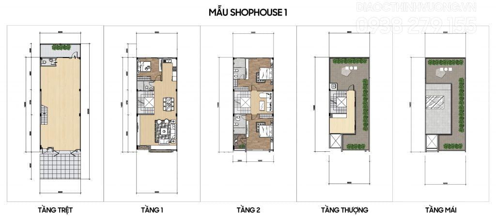 Mặt bằng tầng mẫu Shophouse 1