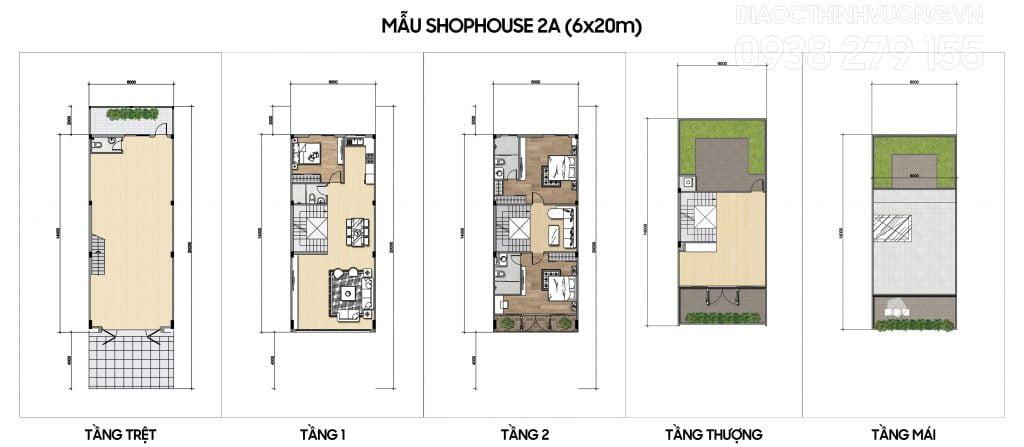Mặt bằng tầng mẫu Shophouse 2A (6x20m)