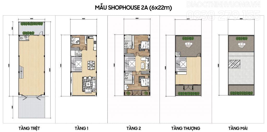 Mặt bằng tầng mẫu Shophouse 2A (6x22m)
