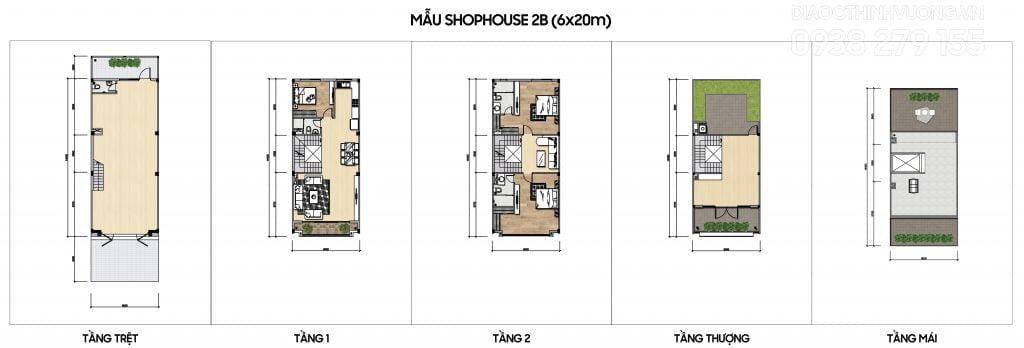 Mặt bằng tầng mẫu Shophouse 2B (6x20m)