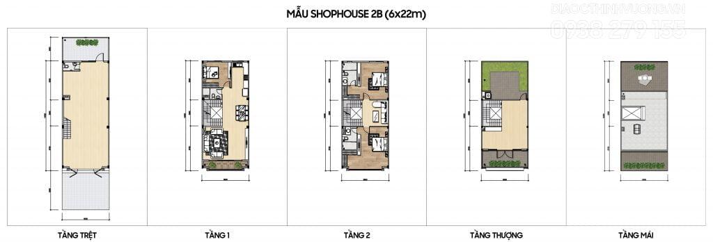 Mặt bằng tầng mẫu Shophouse 2B (6x22m)