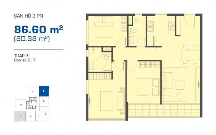 Thiết kế căn hộ The Sun Avenue loại 3PN