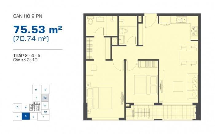 Thiết kế chi tiết căn hộ The Sun Avenue mẫu căn 2PN