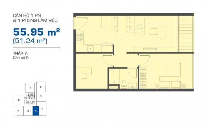 Thiết kế căn hộ The Sun Avenue loại 1PN + 1 phòng đa năng