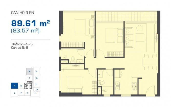 Thiết kế chi tiết căn hộ The Sun Avenue mẫu căn 3PN