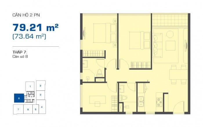 Thiết kế căn hộ The Sun Avenue loại 2PN