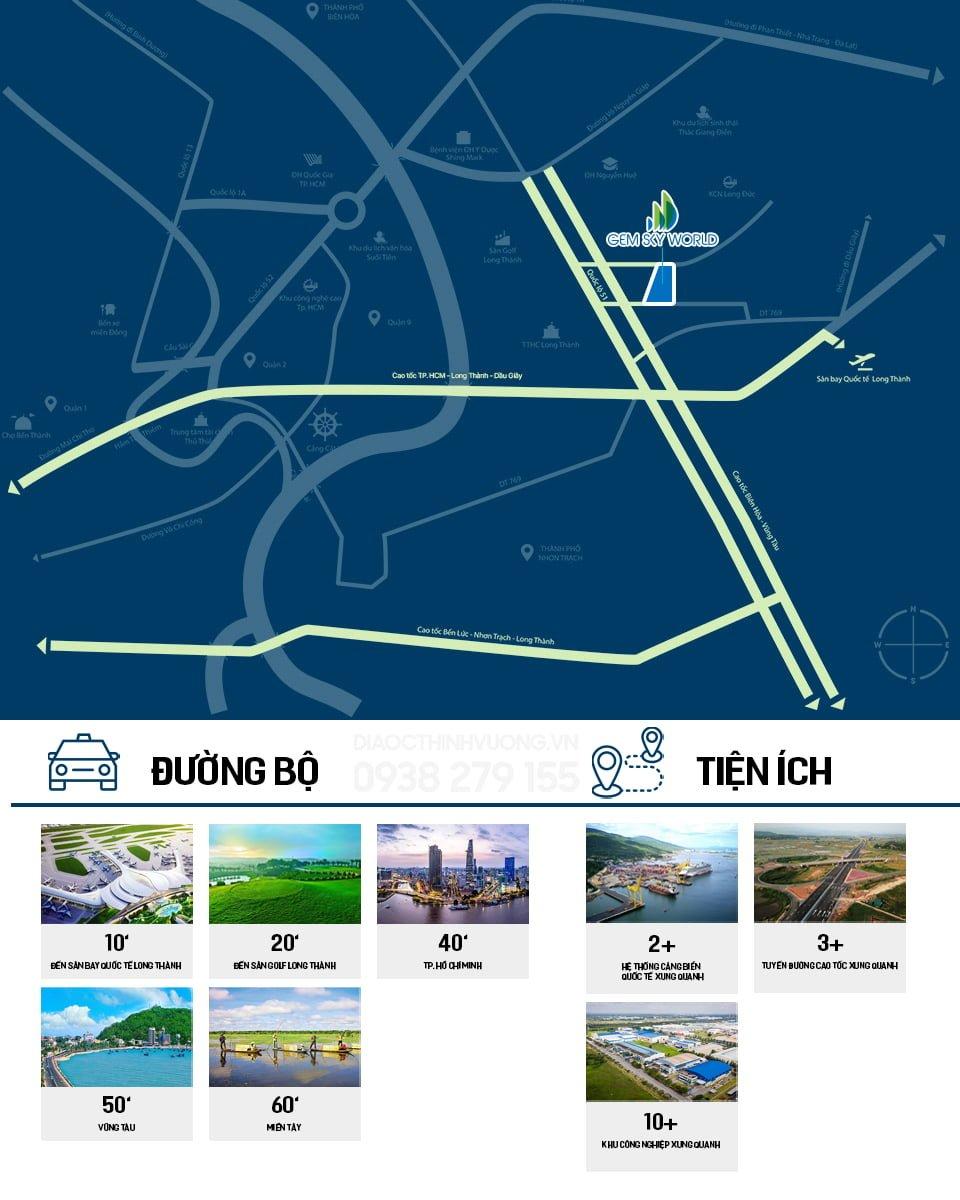 Dự án Gem Sky World có vị trí gần các trục giao thông lớn