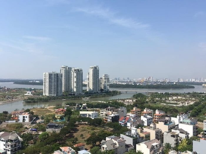 Hướng view về Đảo Kim Cương ban ngày của căn hộ The Sun Avenue