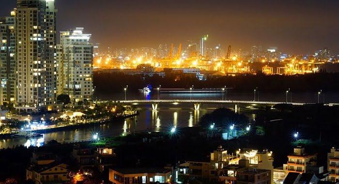 View sông Sài Gòn về đêm tại The Sun Avenue