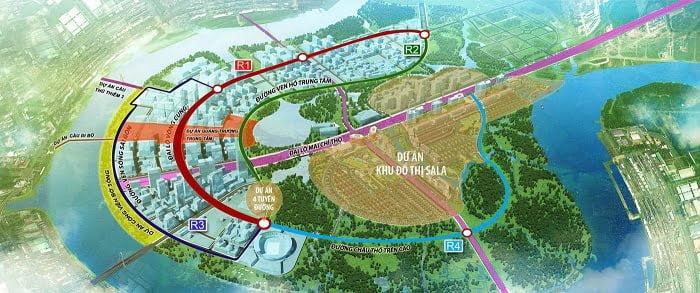 Khu đô thị Sala nằm ngay trung tâm của Khu đô thị mới Thủ Thiêm