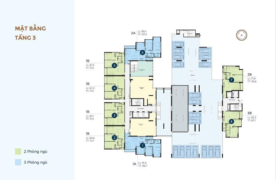 Mặt bằng tầng 3 căn hộ Precia
