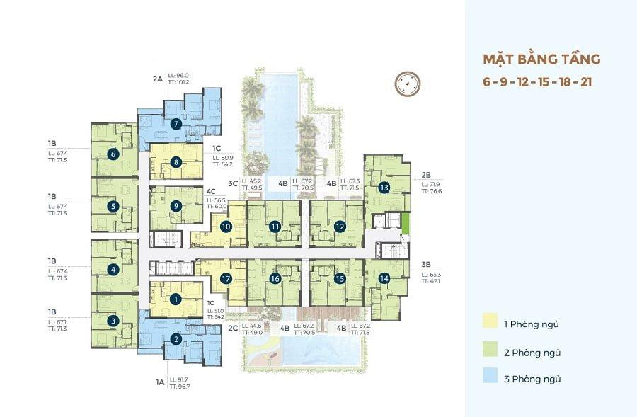 Mặt bằng tầng các tầng có khu vực tránh nạn của căn hộ Precia