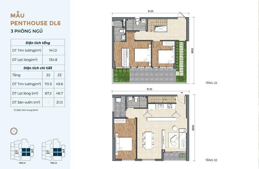 Thiết kế căn hộ Penthouse tại Precia (mẫu căn 3PN có sân vườn)
