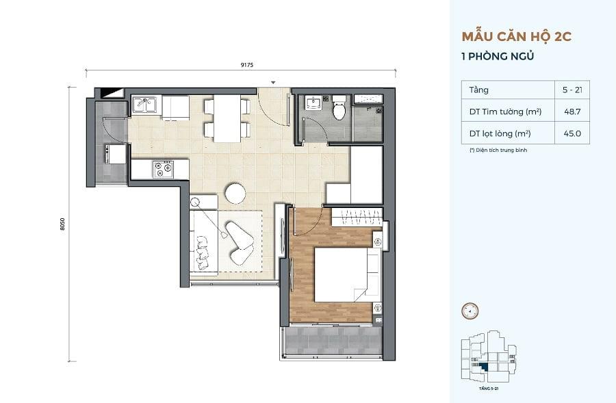 Thiết kế căn hộ Precia loại 1 phòng ngủ