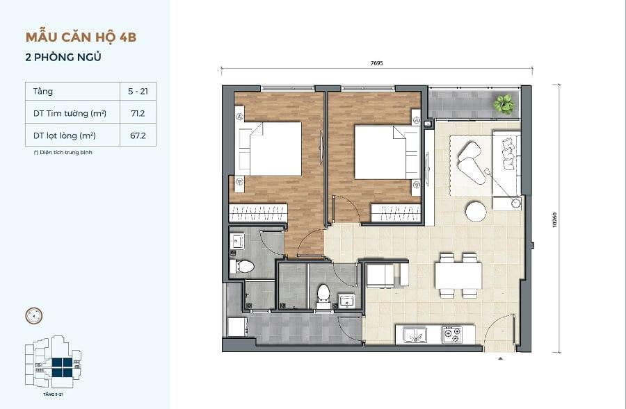 Thiết kế căn hộ Precia loại 2 phòng ngủ 2 WC