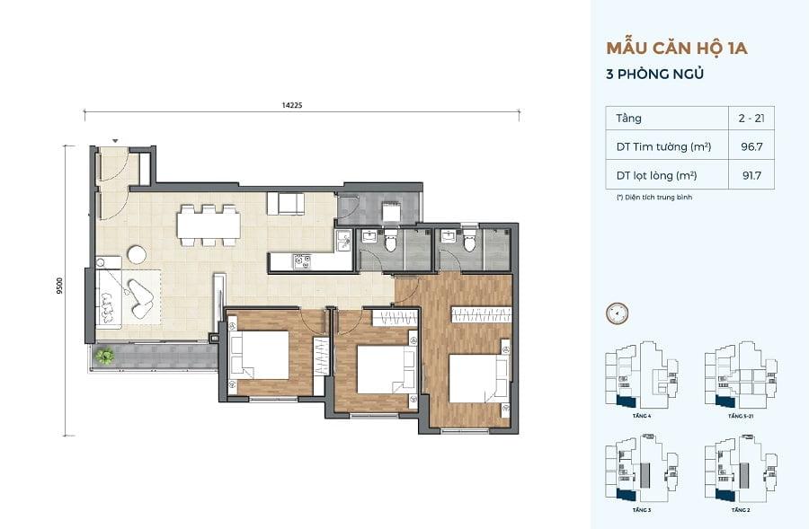 Thiết kế căn hộ Precia loại 3 phòng ngủ 2 WC