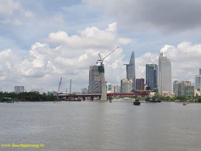 Tiến độ xây dựng cầu Thủ Thiêm 2 vào tháng 6/2020