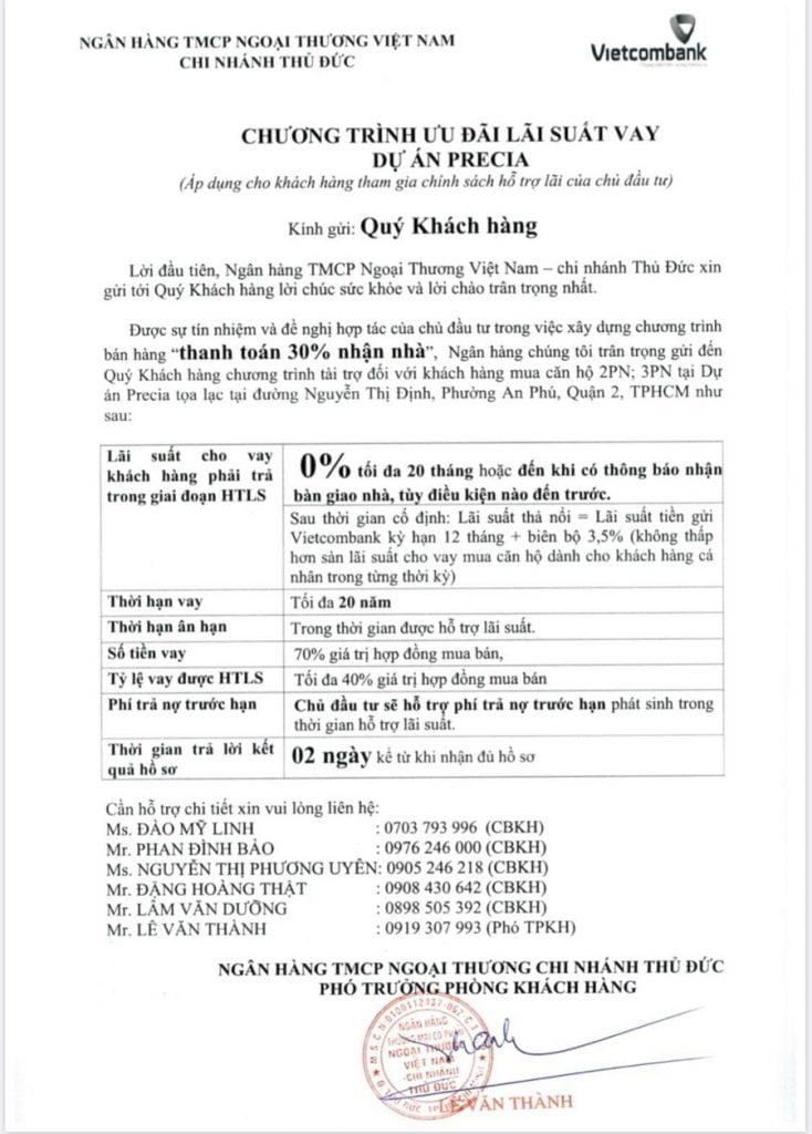 Thông báo chính thức của Vietcombank về chính sách tại căn hộ Precia Quận 2