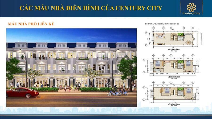 Thiết kế của nhà phố liên kế tại Century