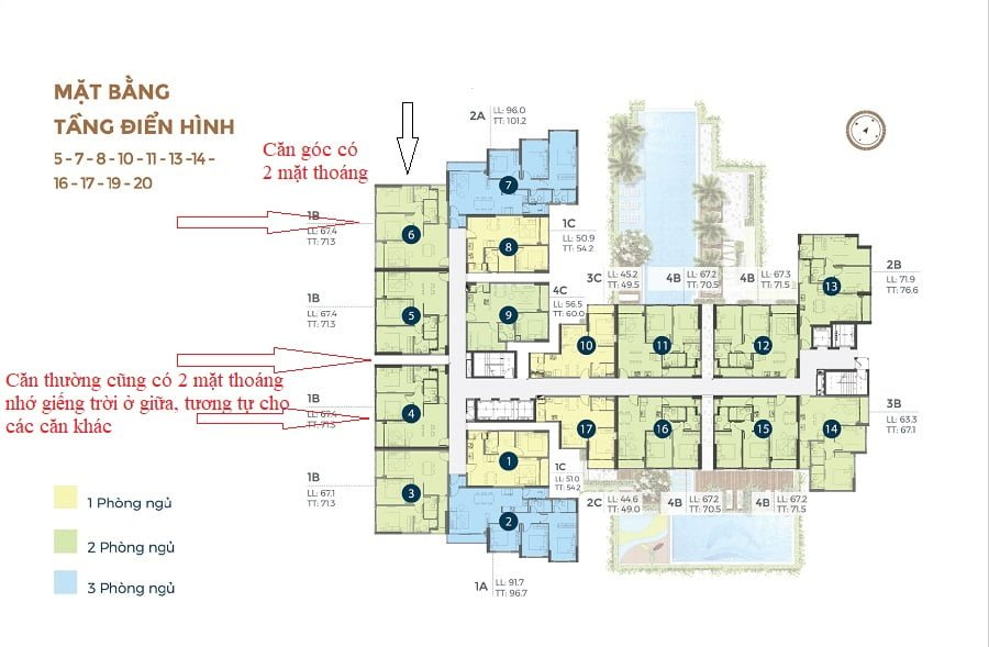 Thiết kế căn hộ có 100% 2 mặt thoáng