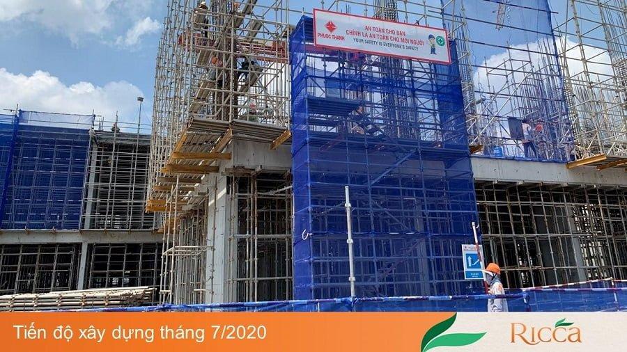Tiến độ xây dựng căn hộ Ricca Quận 9 mới nhất ngày 31-07-2020