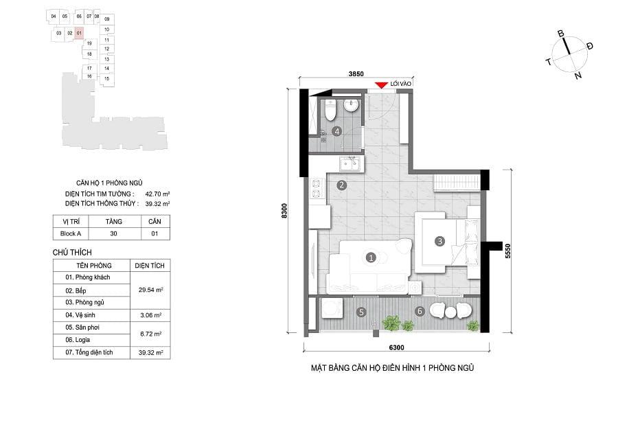 Căn hộ 1PN tầng 30 (căn số 1)