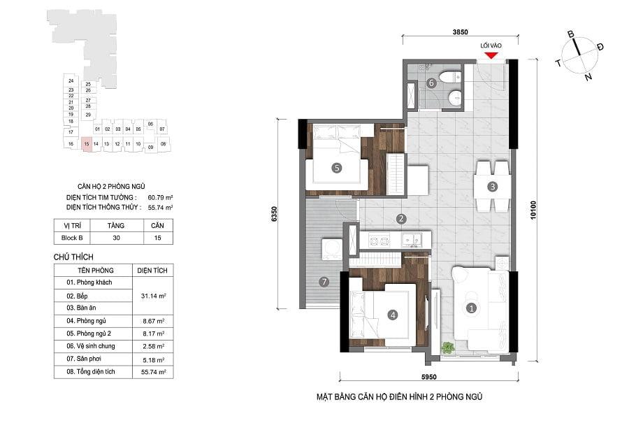 Căn hộ 2PN tầng 30 (căn số 15)