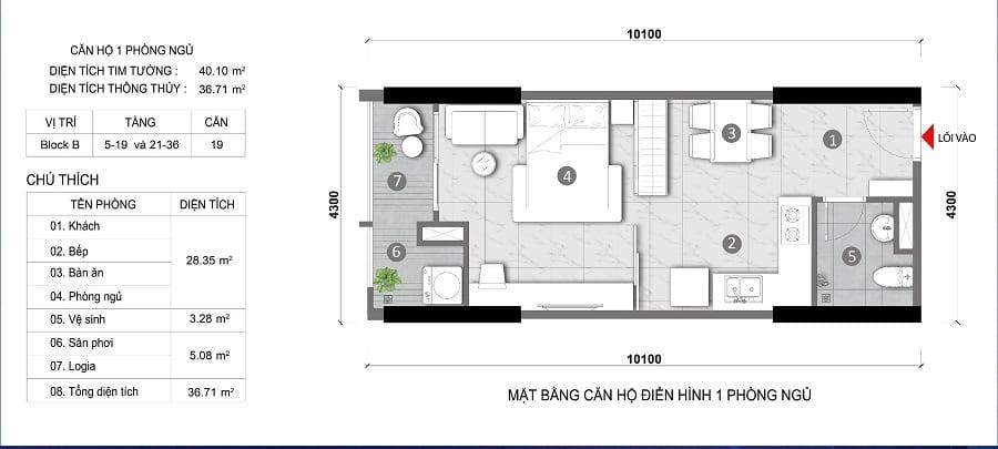 Thiết kế căn hộ 1 phòng ngủ tại Opal Thuận An